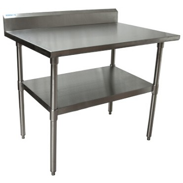 "BK Resources QVTR5-4830 - Work Table, 48 x 30""D x 34-3/4"" H, 14 gauge, Stainless Steel shelf"