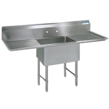 "BK Resources BKS6-1-24-14-24TS - One Compartment Sink, 24_ x 24_ x 14"", L&R drainboards"