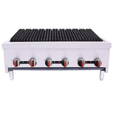 "BakeMax BACGG36-6 - Charbroiler, gas, countertop, 36""W x 31""D x 16-1/2""H, (6) burners"