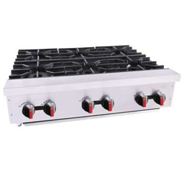 "BakeMax BAFA6M-36 - Hot plate, gas, countertop, 36""W x 30""D x 10""H, (6) double burners"
