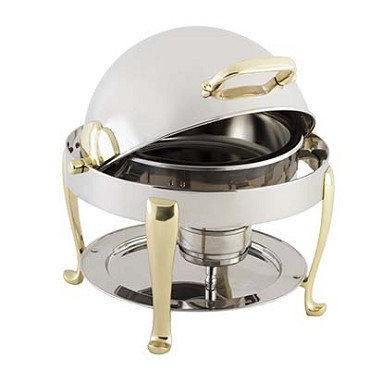 Bon Chef 19014G - Petite Chafer, round, 3 qt., gold plated with Roman legs
