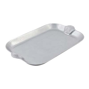 "Bon Chef 2069 - Platter, 22"" x 32"" , with shell handles, aluminum with Pewter-Gl"