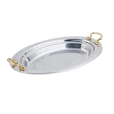 "Bon Chef 5488HR - Food Pan, full oval, 2-1/2 qt., 19"" x 11-13/16"" x 2"" , with rou"