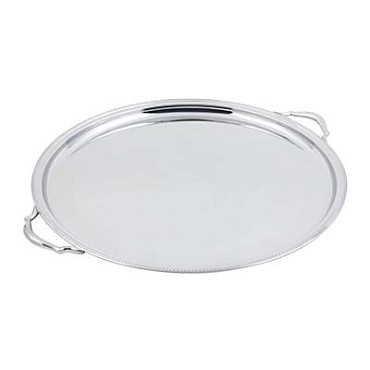 "Bon Chef 61337 - Tray, 20"" diameter, round, with handle & etching, stainless ste"
