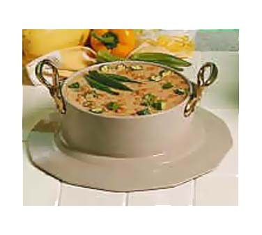 Bon Chef 91419097HR - Soup Bowl Crock, 5 qt. 12 oz., with collar & 2 brass hand