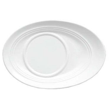 Bon Chef 1100005P - Saucer, 7-5/8 x 5-1/5 x 1-3/50 in., slanted oval, porcelain, (Case of 36)