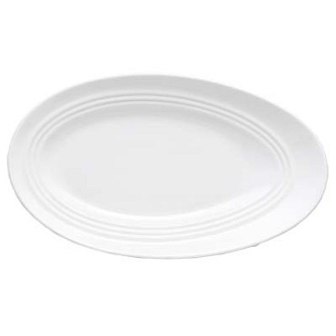 Bon Chef 1100009P - Plate, 12-1/2 x 7-1/2 in., slanted oval, wide rim, porcelain, (Case of 12)