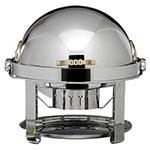 Bon Chef 12010 - Elite Chafer, 2 gallon, round, stainless steel with brass Contem