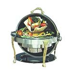 Bon Chef 17000 - Elite Chafer, 2 gallon, round, stainless steel with brass Renais