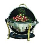 Bon Chef 18000 - Elite Chafer, 2 gallon, round, stainless steel w/brass Lion legs