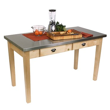 John Boos MIL6030D - Cucina Milano Work Table, 60 x 30 x 30 inch, 18/8 top & maple base