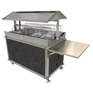 Cadco CBC-GG-4-L3 - Merchandising Cart, (4) hotfood wells, (8) half-size steam pans, Grey