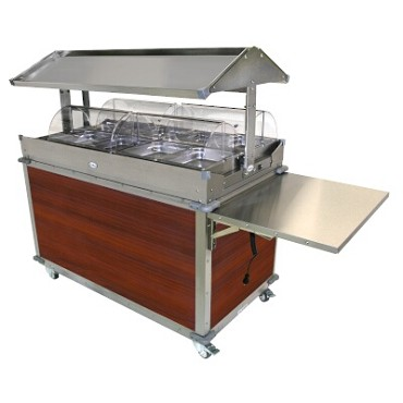 Cadco CBC-GG-4-L5 - Merchandising Cart, (4) hotfood wells, (8) half-size steam pans, Cherry