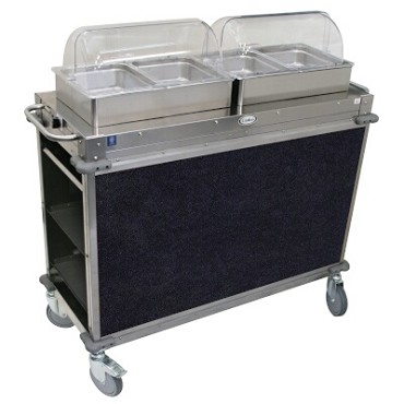 "Cadco CBC-HH-L4-4 - MobileServ Junior Mobile Hot Buffet Cart, (2) double buffet servers, (4) half size steam pans (4"" deep)"