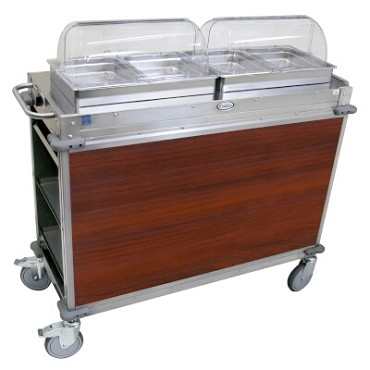 "Cadco CBC-HH-L5 - MobileServ Junior Mobile Hot Buffet Cart, (2) double buffet servers, (4) half size steam pans (2-1/2"" deep)"