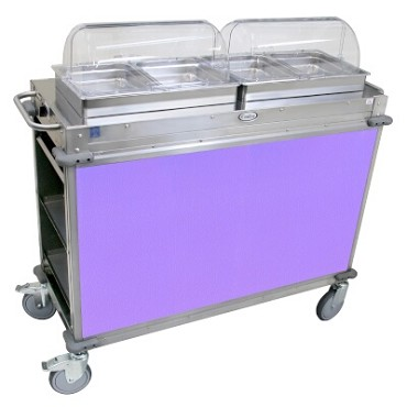 "Cadco CBC-HH-L7 - MobileServ Junior Mobile Hot Buffet Cart, (2) double buffet servers, (4) half size steam pans (2-1/2"" deep)"