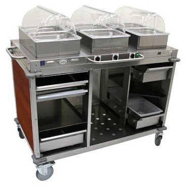 "Cadco CBC-HHH-L5-4 - Mobile Hot Buffet Cart, 55-1/2""W x 51""H x 28-3/4""D, stainless steel with versailles cherry laminate panels"