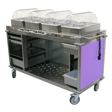 "Cadco CBC-HHHH-L7 - Mobile Hot Buffet Cart, 70-1/4""W x 49""H x 31-1/2""D, stainless steel with Eggplant laminate panels"
