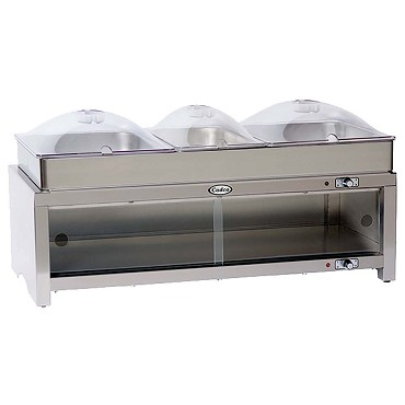 Cadco CMLB-CSLP - Warming Cabinet, buffet server with clear lids, (2) 1/2 size s/s