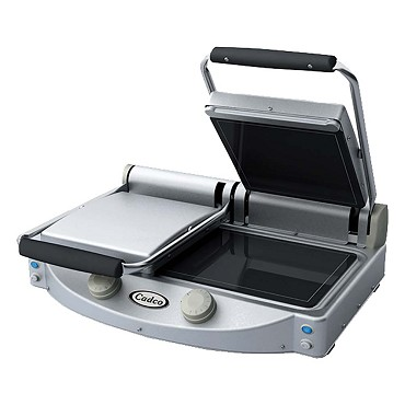 Cadco CPG-20F - Dual Clamshell Panini Grill, Smooth Top & Bottom
