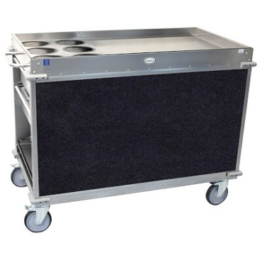 Cadco BC-3-L4 - Beverage Cart, large, (6) airpot wells, (2) shelf & (4) drawers, Navy panels