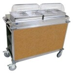 Cadco CBC-HH-L1 - MobileServ Junior Mobile Hot Buffet Cart, (2) double buffet servers, (4) half size steam pans (2-1/2