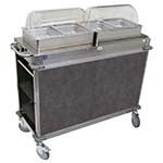 Cadco CBC-HH-L3-4 - MobileServ Junior Mobile Hot Buffet Cart, (2) double buffet servers, (4) half size steam pans (4
