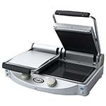Cadco CPG-20 - Dual Clamshell Panini Grill, Ribbed Top & Smooth Bottom
