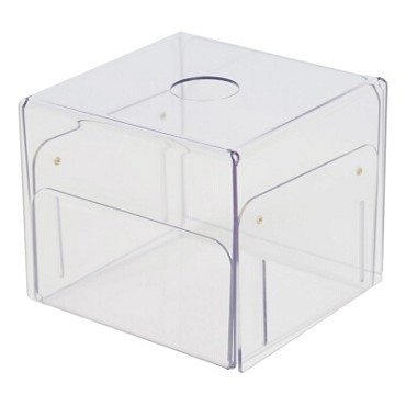 "Cal-Mil 22158-12 - Sanitizer Wipe Box Holder, 6-3/4""L x 6-3/4""W x 10""H, removable lid, plastic"