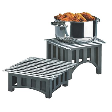"Cal-Mil 1364-12-13 - Mission Chafer Alternative, 12""W x 12""D x 4""H, bridge style, square, black"