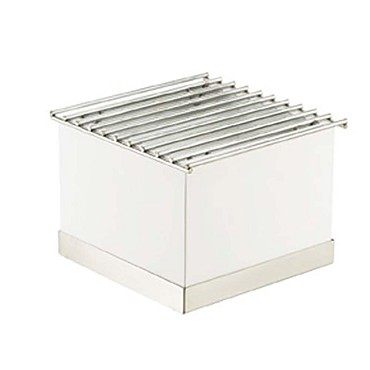 "Cal-Mil 3011-55 - Luxe Chafer Alternative, 12""W x 12""D x 8-1/4""H, wire grill, white metal"