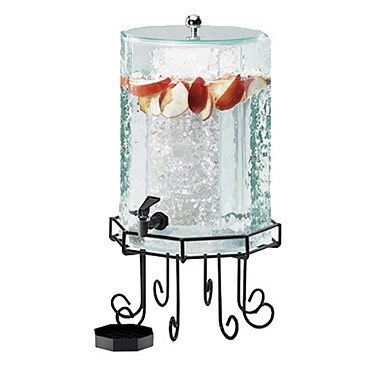 "Cal-Mil 932-3 - Beverage Dispenser, octagon, 3 gal., 11""W x 11""D x 22""H, black decorative wire base"