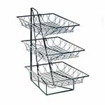 Cal-Mil 1293-3 - 3 Tier Display Rack w/Square Wire Baskets, 12 x 19 x 20 in.
