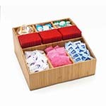 Cal-Mil 1714-60 - 9 Compartment Bamboo Coffee Amenity Organizer, 12 x 12 x 5-1/2 in.