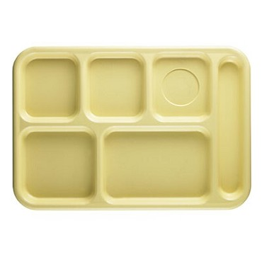 Cambro 10146CW145 Penny Saver - 6 Compartment Serving Tray in Yellow (Case of 24)