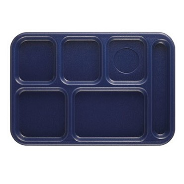 Cambro 10146CW186 Penny Saver - 6 Compartment Serving Tray in Navy (Case of 24)