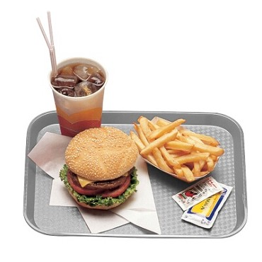Cambro 1418FF107 - Fast Food Tray, Textured, Pearl Gray (Case of 12)