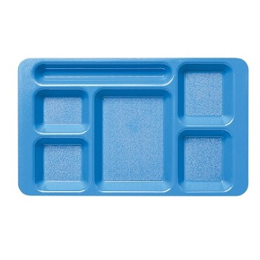 Cambro 1596CW168 Penny Saver - 6 Compartment Serving Tray in Blue (Case of 24)