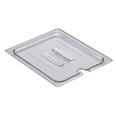 Cambro 20CWCHN135 - Food Pan Cover, 1/2 Size, Notched, with Handle, Clear