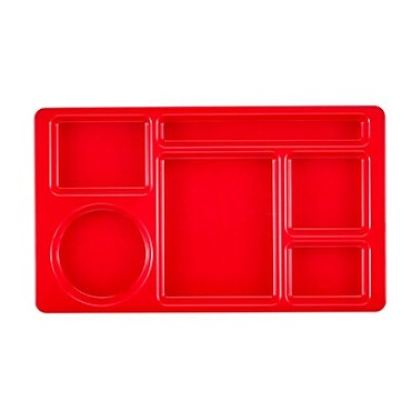 Cambro 915CW404 Penny Saver - 6 Compartment Serving Tray in Red (Case of 24)