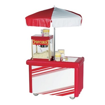 Cambro CVC55158 - Vending Cart, 1 Well, Hot Red with Umbrella