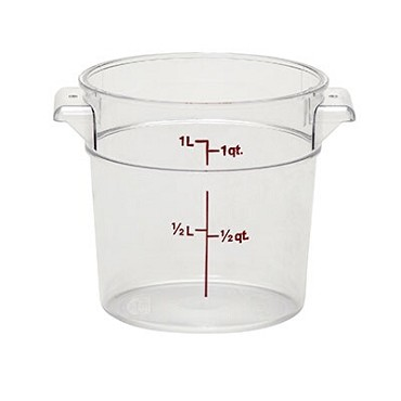 Cambro RFSCW1135 - Round Storage Container, 1 Quart, Clear
