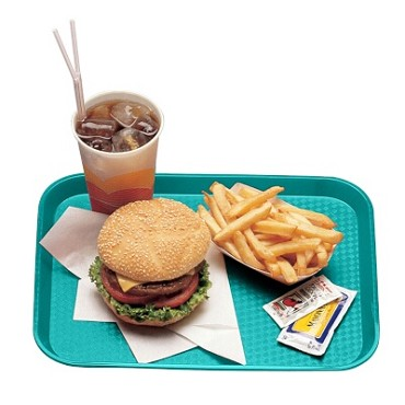 "Cambro 1014FF414 - Fast Food Tray, 10-7/16"" x 13-9/16"", rectangular, teal, (Case of 24)"