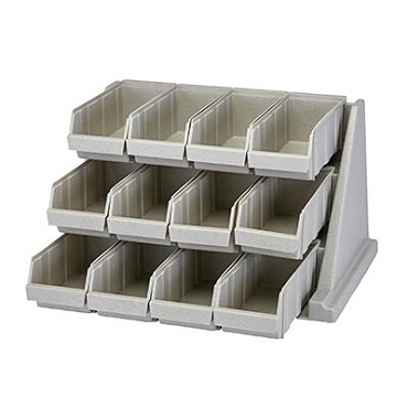 "Cambro 12RS12480 - Organizer Rack, with (12) bins, 25-1/8""L x 21-3/8""D x 14-1/4""H, speckled gray"