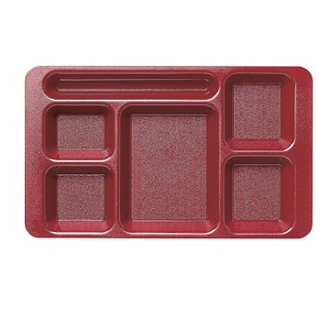 "Cambro 1596CP416 - Six Compartment Tray, 9"" x 15"", gradual slope, cranberry, (Case of 24)"