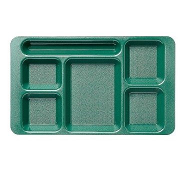 "Cambro 1596CW119 - Six Compartment Tray, 9"" x 15"", gradual slope, Sherwood green, (Case of 24)"