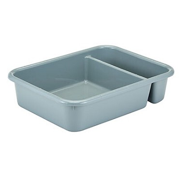 "Cambro 1621CBP180 - Cambox, 15""L x 20-1/2""W x 4""H, (2) compartments, light gray, (Case of 12)"