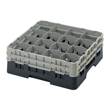 "Cambro 16S534110 - Glass Rack, with (2) extenders, 19-3/4"" x 19-3/4"" x 7-1/4"", (16) compartments, black, (Case of 4)"
