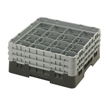 "Cambro 16S638110 - Glass Rack, with (3) extenders, 19-3/4"" x 19-3/4"" x 8-7/8"", (16) compartments, black, (Case of 3)"