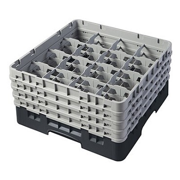 "Cambro 16S800110 - Glass Rack, with (4) extenders, 19-3/4"" x 19-3/4"" x 10-1/2"", (16) compartments, black, (Case of 2)"